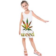 Marijuana Leaf Bright Graphic Kids  Sleeveless Dress