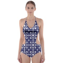 Leaves Horizontal Grey Urban Cut-Out One Piece Swimsuit