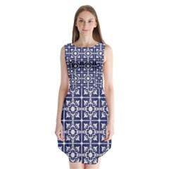 Leaves Horizontal Grey Urban Sleeveless Chiffon Dress