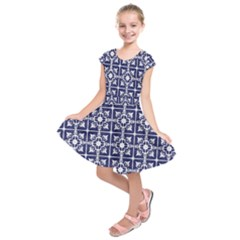 Leaves Horizontal Grey Urban Kids  Short Sleeve Dress