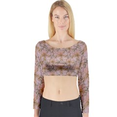 Nature Collage Print Long Sleeve Crop Top (Tight Fit)