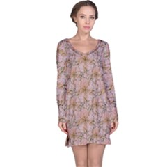 Nature Collage Print Long Sleeve Nightdress