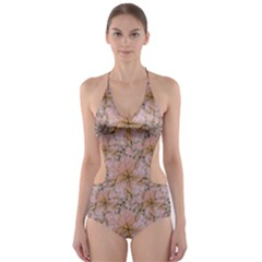 Nature Collage Print Cut-Out One Piece Swimsuit