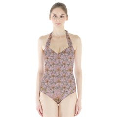 Nature Collage Print Halter Swimsuit