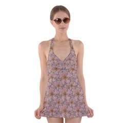 Nature Collage Print Halter Swimsuit Dress