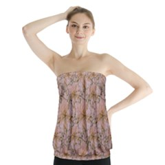 Nature Collage Print Strapless Top