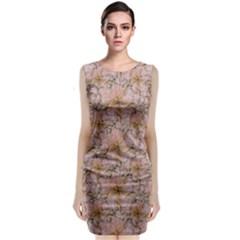 Nature Collage Print Sleeveless Velvet Midi Dress