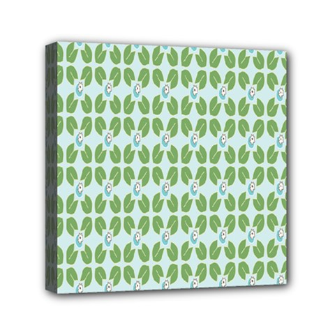 Leaf Flower Floral Green Mini Canvas 6  x 6