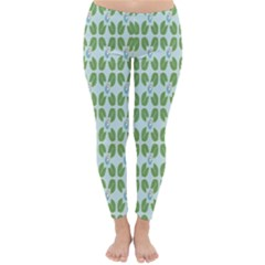 Leaf Flower Floral Green Classic Winter Leggings
