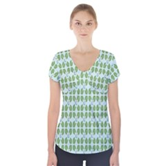 Leaf Flower Floral Green Short Sleeve Front Detail Top