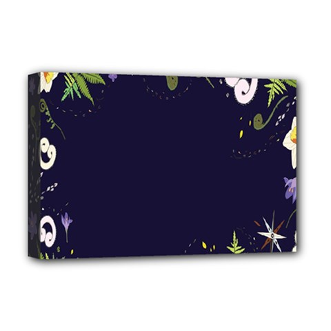 Spring Wind Flower Floral Leaf Star Purple Green Frame Deluxe Canvas 18  x 12