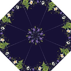 Spring Wind Flower Floral Leaf Star Purple Green Frame Hook Handle Umbrellas (Large)