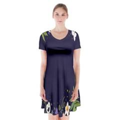 Spring Wind Flower Floral Leaf Star Purple Green Frame Short Sleeve V Neck Flare Dress