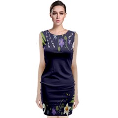 Spring Wind Flower Floral Leaf Star Purple Green Frame Classic Sleeveless Midi Dress