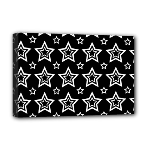 Star Black White Line Space Deluxe Canvas 18  x 12