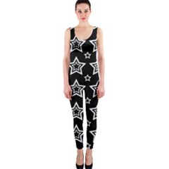 Star Black White Line Space OnePiece Catsuit