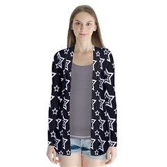 Star Black White Line Space Cardigans