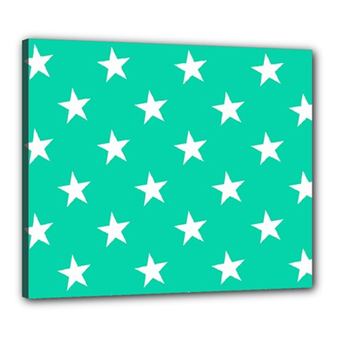Star Pattern Paper Green Canvas 24  x 20