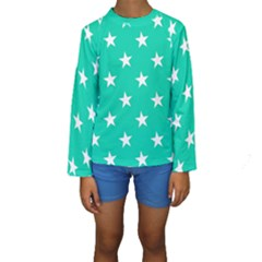 Star Pattern Paper Green Kids  Long Sleeve Swimwear