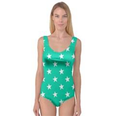 Star Pattern Paper Green Princess Tank Leotard