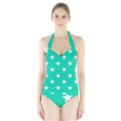 Star Pattern Paper Green Halter Swimsuit