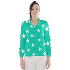 Star Pattern Paper Green Wind Breaker (Women)
