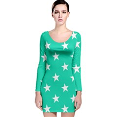 Star Pattern Paper Green Long Sleeve Velvet Bodycon Dress