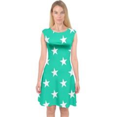 Star Pattern Paper Green Capsleeve Midi Dress