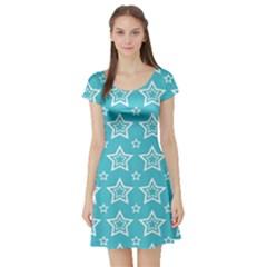 Star Blue White Line Space Sky Short Sleeve Skater Dress