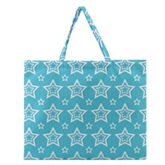 Star Blue White Line Space Sky Zipper Large Tote Bag