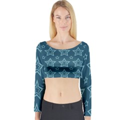 Star Blue White Line Space Long Sleeve Crop Top