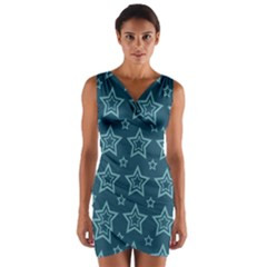Star Blue White Line Space Wrap Front Bodycon Dress