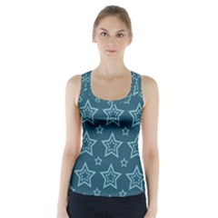 Star Blue White Line Space Racer Back Sports Top