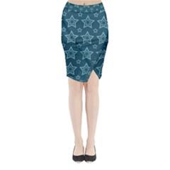 Star Blue White Line Space Midi Wrap Pencil Skirt