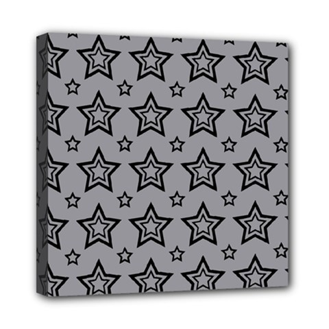 Star Grey Black Line Space Mini Canvas 8  x 8