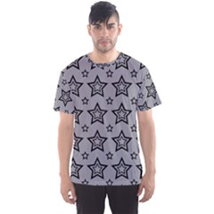 Star Grey Black Line Space Men s Sport Mesh Tee