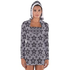 Star Grey Black Line Space Women s Long Sleeve Hooded T-shirt