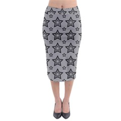 Star Grey Black Line Space Midi Pencil Skirt