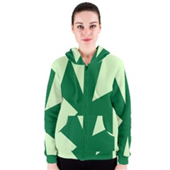 Starburst Shapes Large Circle Green Women s Zipper Hoodie