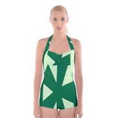 Starburst Shapes Large Circle Green Boyleg Halter Swimsuit