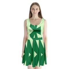 Starburst Shapes Large Circle Green Split Back Mini Dress