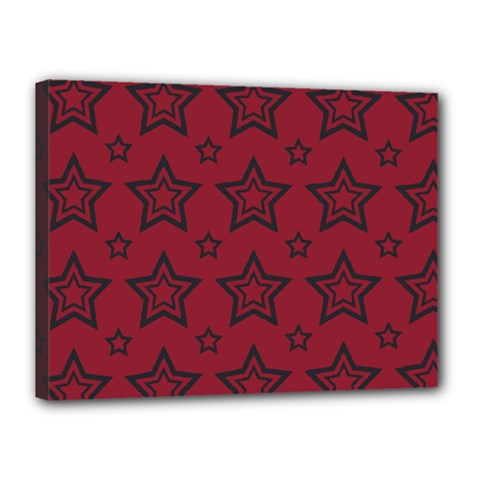 Star Red Black Line Space Canvas 16  x 12
