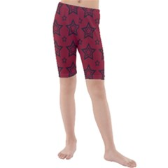 Star Red Black Line Space Kids  Mid Length Swim Shorts