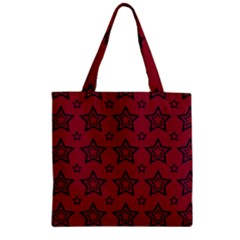 Star Red Black Line Space Zipper Grocery Tote Bag