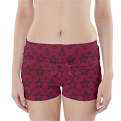 Star Red Black Line Space Boyleg Bikini Wrap Bottoms