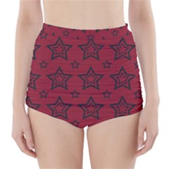 Star Red Black Line Space High-Waisted Bikini Bottoms
