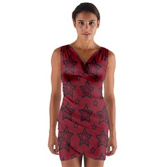 Star Red Black Line Space Wrap Front Bodycon Dress