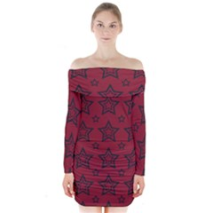 Star Red Black Line Space Long Sleeve Off Shoulder Dress