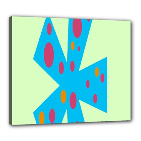 Starburst Shapes Large Circle Green Blue Red Orange Circle Canvas 24  x 20
