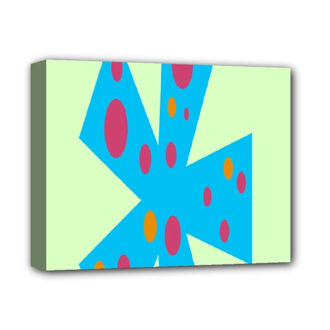Starburst Shapes Large Circle Green Blue Red Orange Circle Deluxe Canvas 14  x 11